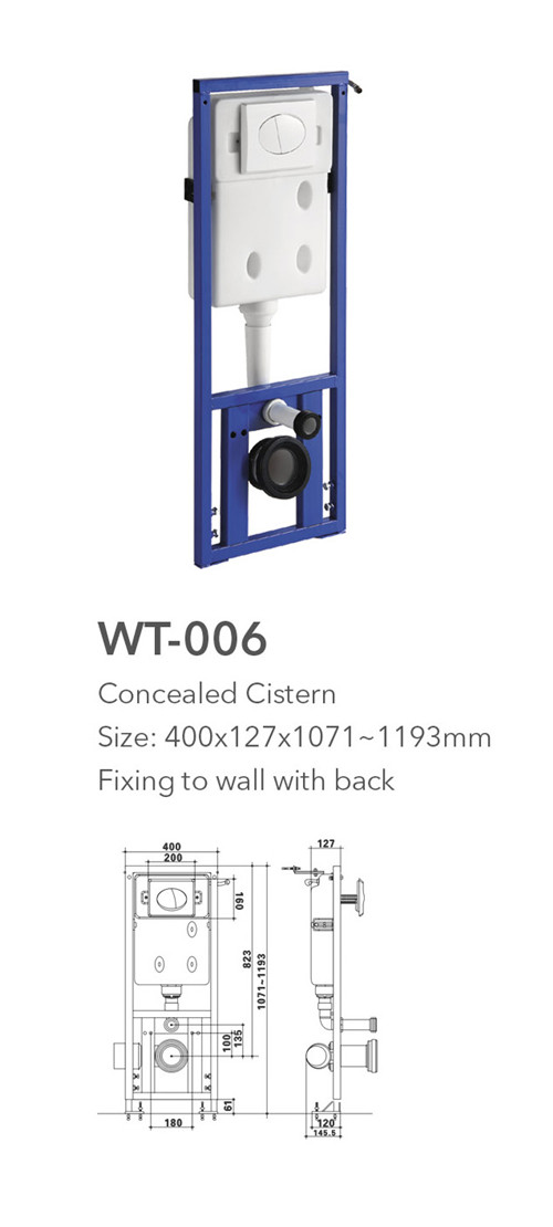 WT-006R Hot sale flapper valve toilet cistern types