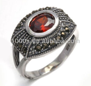 2013 new marcasite and ruby ring