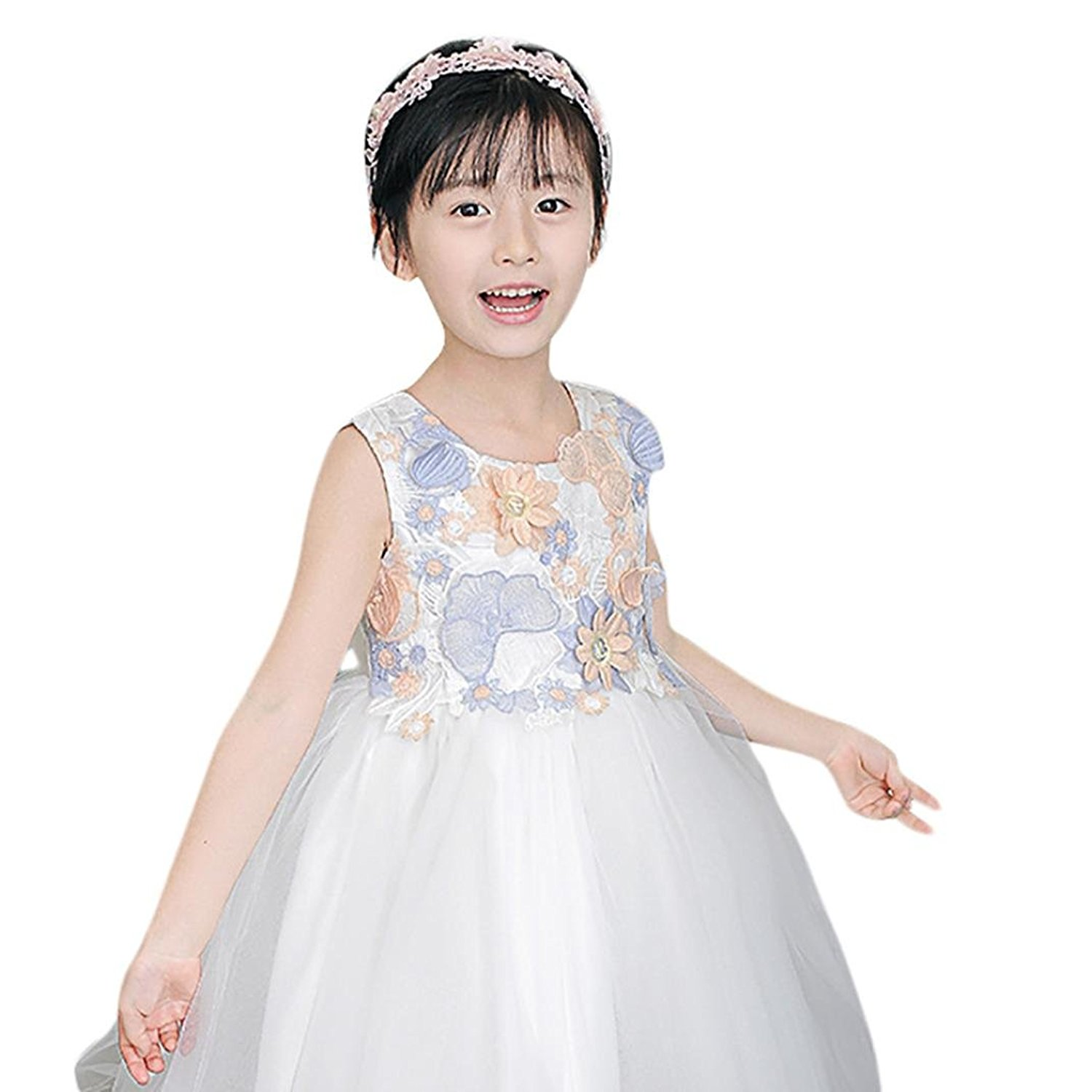 TiTCool Kids Girls Wedding Flower Dress Lace Sleeveless Princess Party Formal Play Show Dress