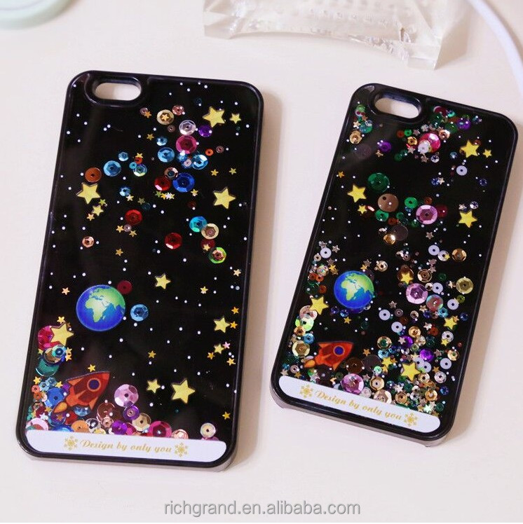 3D Roving Glitter Space Stars Cell Phone Accessories for iPhone 5s 6 6plus Back Case Cover
