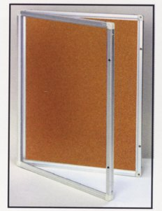 Cork Memo Locking Board Bulletin Board Cabinet BW B1