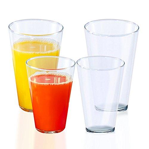 Stackable Beer Pints & Tumblers, Unbreakable Outdoor RV Camper Cups: 12oz & 16 oz | Dishwasher-safe, shatterproof plastic | Smooth Rims | BPA-Free Set of 8
