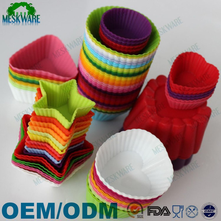 Set of 12 reusable colorful muffin cupcake Liners