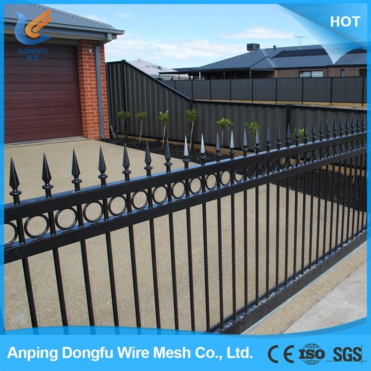 Buy wholesale from china carbon steel fence post holder /waterproof pvc coated wall boundary steel grills fence design