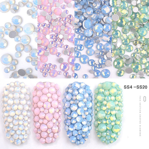 XULIN Mix SS4-SS20 Pink Blue Green Opal Rhinestones Flat Back Colorful Crystal Glass DIY UV Gel 3D Nail Decorations
