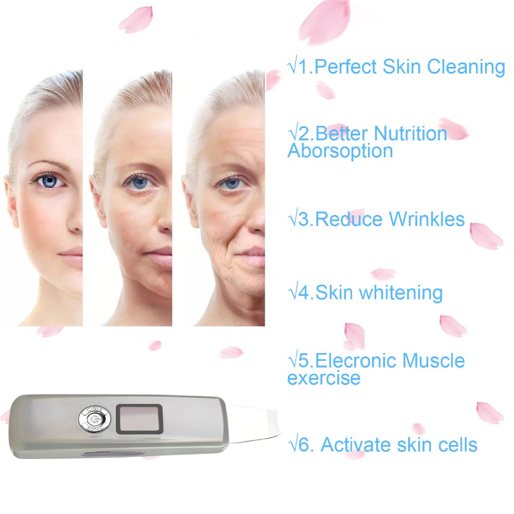 Popular products 2019 ultrasonic face scrubber facial skin peeling machine scrubber ultrasonic deep face cleaning
