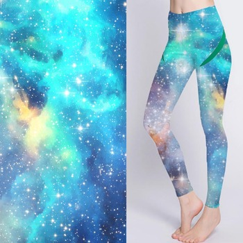 Breathable digital printed stretch universe pattern pants fabric for yoga