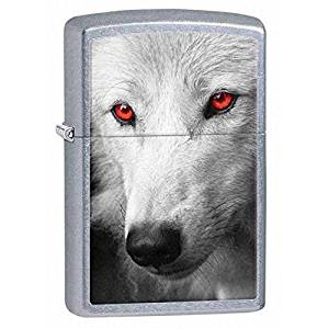 65ecc83eb3f Get Quotations · Zippo 28877 Wolf Red Eyes Street Chrome Finish Full Size  Lighter