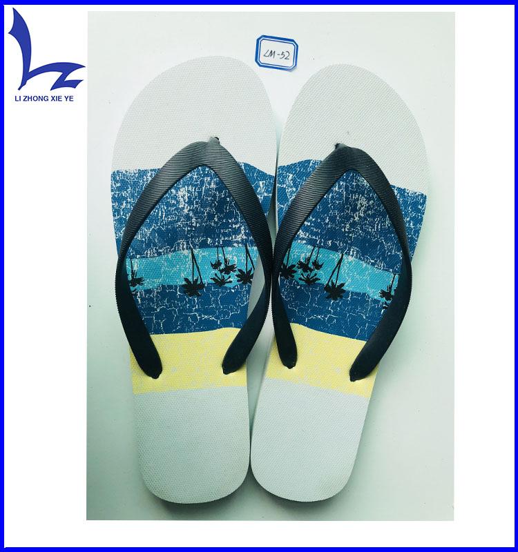 19b1e59a3dda OEM cute fancy design beach PE eva sole men printed custom flip flops