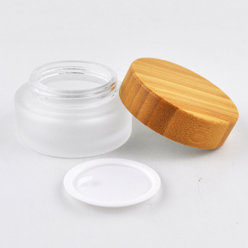 5ml 10ml 30ml 50ml 100ml clear frosted empty glass cosmetic cream jar with natural bamboo lid