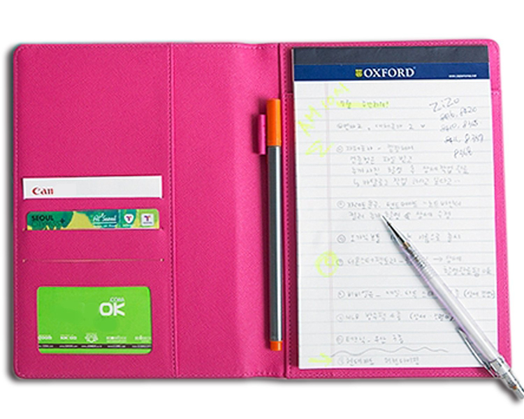 Colorful Professional PU Leather Padfolio, A5 Size Personalized Leather Portfolio Includes Writing Pad