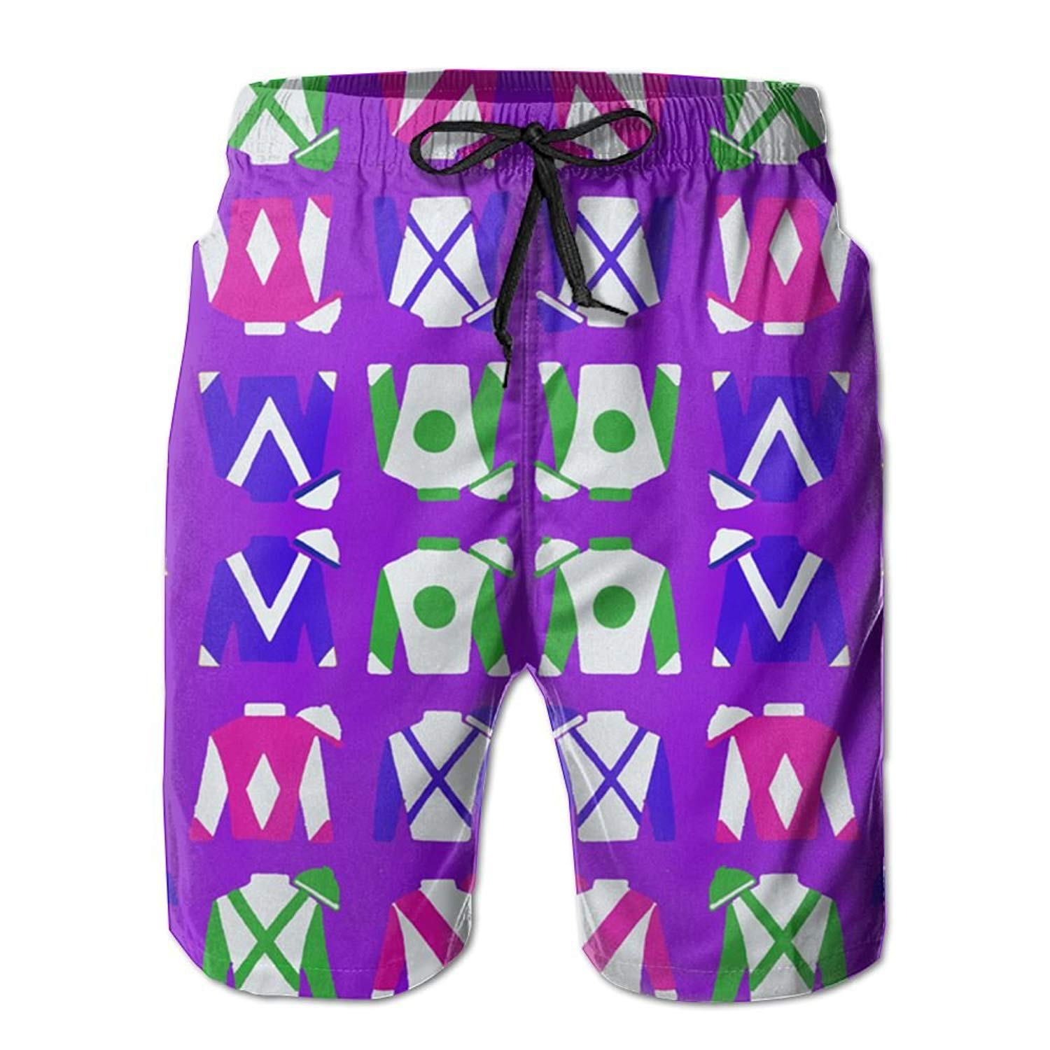 acd1f16610 Get Quotations · Purple Jockey Silks Men's Summer Boardshorts Outdoor Water  Sports Shorts Quick Dry Casual Beach Shorts