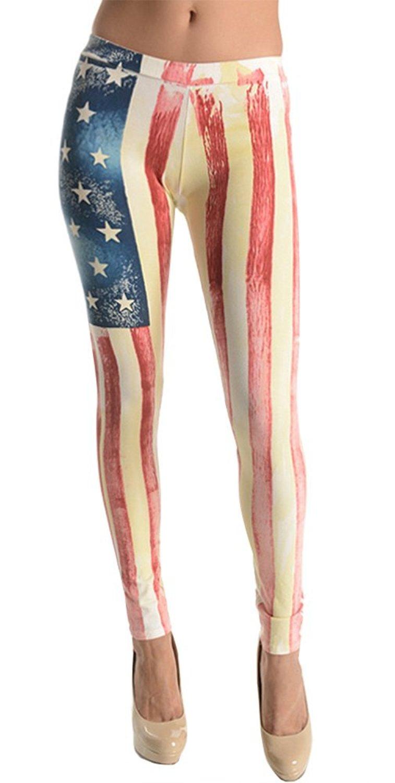 Sodika High Waist Yoga Capri Workout Pants Tummy Control Stretch Compression Running Leggings American Flag