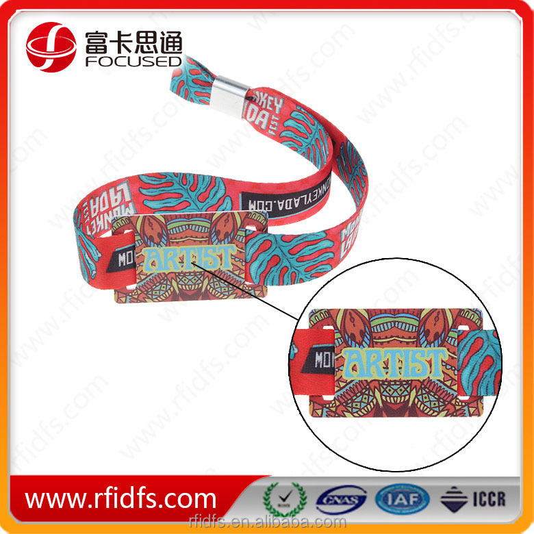 Factory price Festival Access control Cashless payment MIFARE Classic 1K ev1 rfid woven wristband
