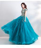 High Quality Women Blue A Line Short Sleeve Lace Bridal Ball Gown Wedding Dress