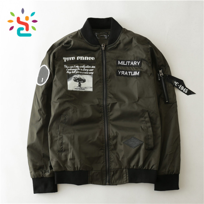 Wholesale custom bomber jackets coat men 100% polyester Ma-1 Pilot Winter Military Flight Men Bomber Jacket Wholesale