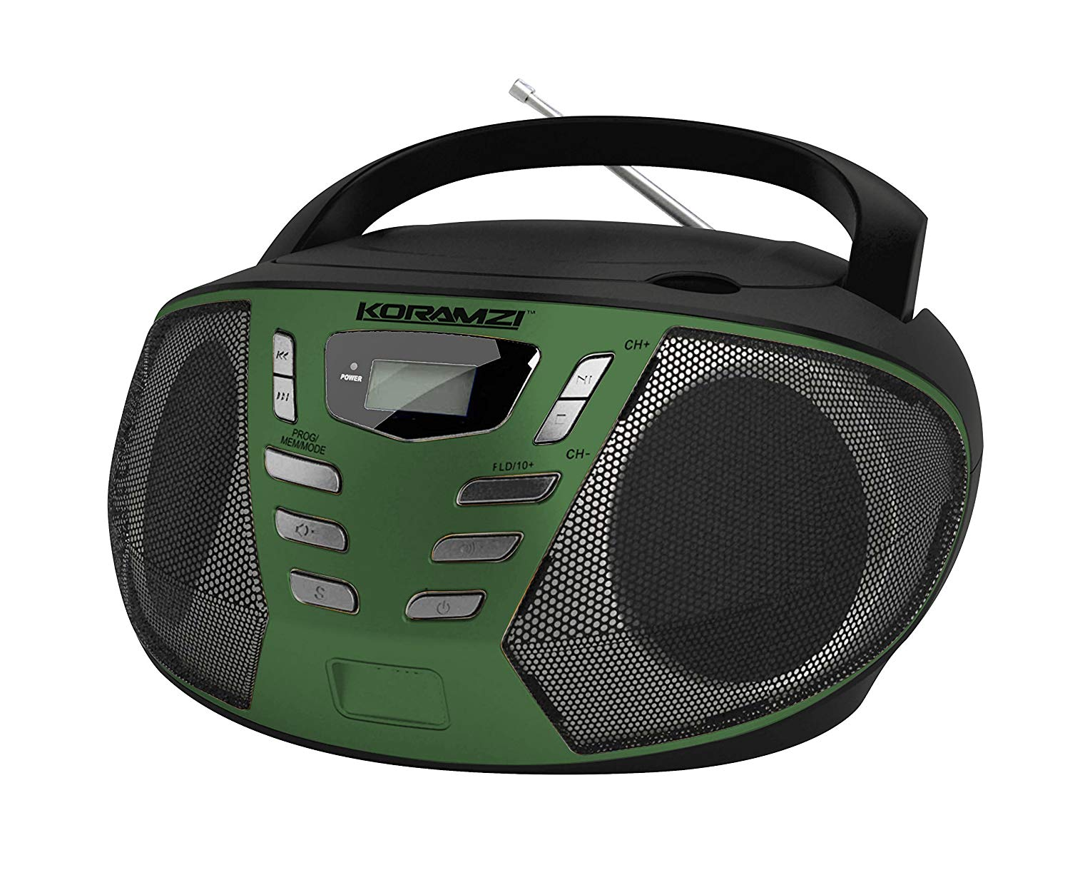 KORAMZI Portable CD Boombox with AM/FM Radio,AUX IN, Top Loading CD Player, Telescopic Antenna, LCD Display for Indoor & Outdoor,Offices,Home,Restaurants,Picnics,School,Camping (Black/Green) CD55-BKG