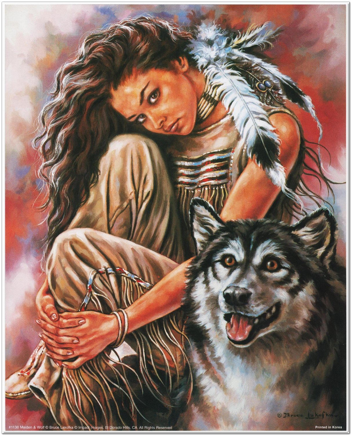 Buy Indian Maiden and Wolf Native American Wall Decor Art Print