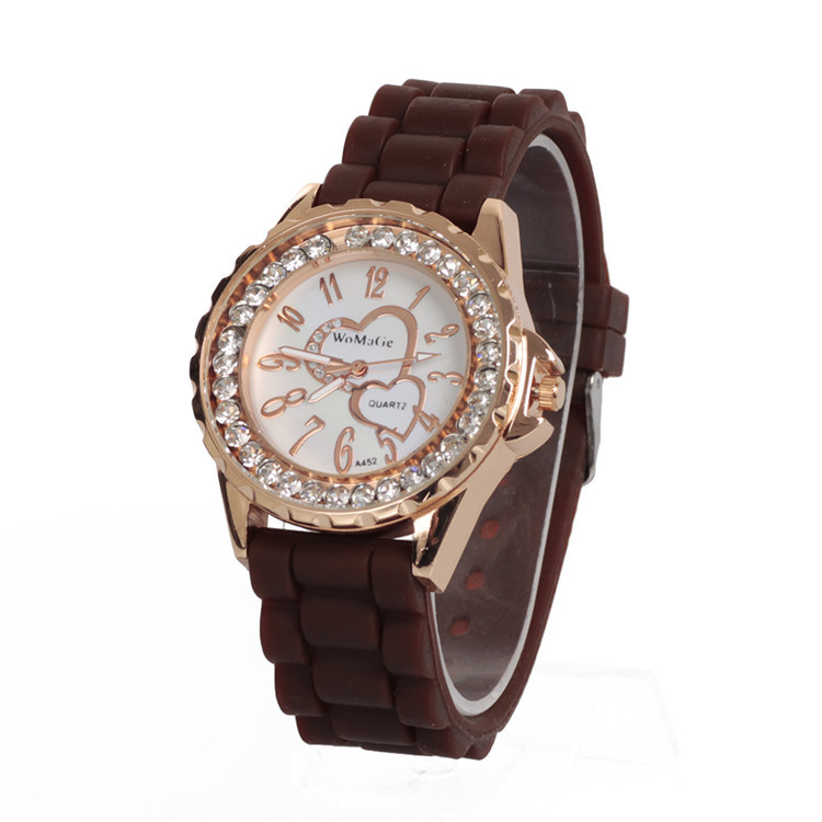2015 Women Silicone Geneva Crystal Stone Quartz Sports Golden Case Wrist Watch Black/White/Purple/Red/Pink/Brown Free Shipping