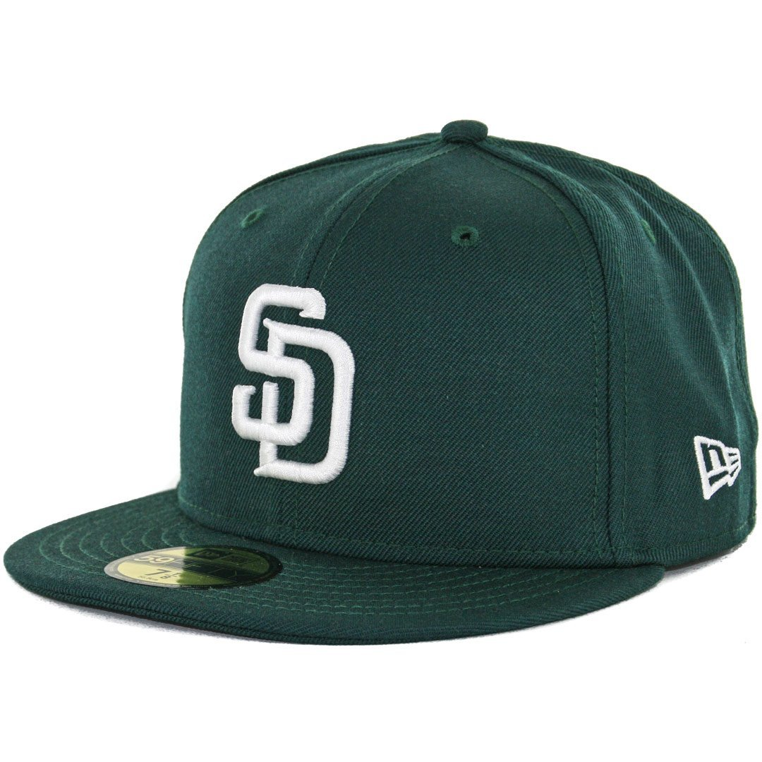 sale retailer 2d98d f28fc Get Quotations · New Era 59Fifty San Diego Padres Fitted Hat (Dark  Green White) Men s Wool