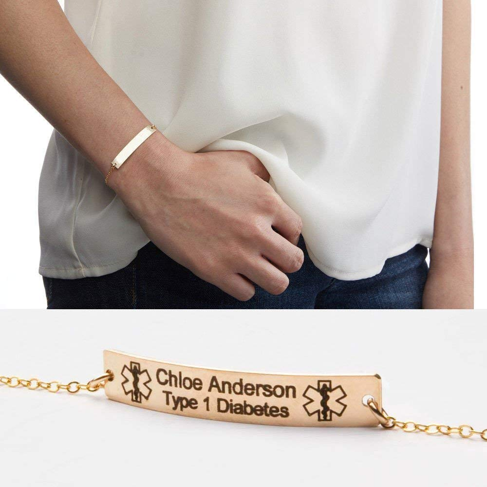Medical Alert Bracelet- Custom Medical ID Jewelry-Personalized Gold Bar Engraved-14K Gold Filled-Rose-Sterling Silver-CG289N_1.5X0.25