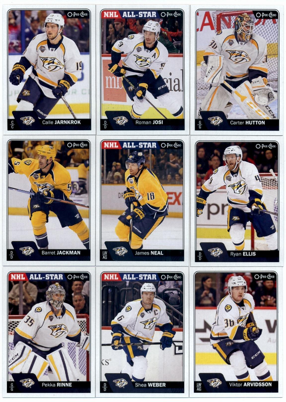 2016-17 O-Pee-Chee Hockey Nashville Predators Team Set of 18 Cards in Protective Snap Case: Roman Josi(#29), Calle Jarnkrok(#43), Carter Hutton(#64), Ryan Ellis(#76), James Neal(#89), Barret Jackman(#137), Viktor Arvidsson(#214), Shea Weber(#230), Pekka Rinne(#253), Filip Forsberg(#266), Paul