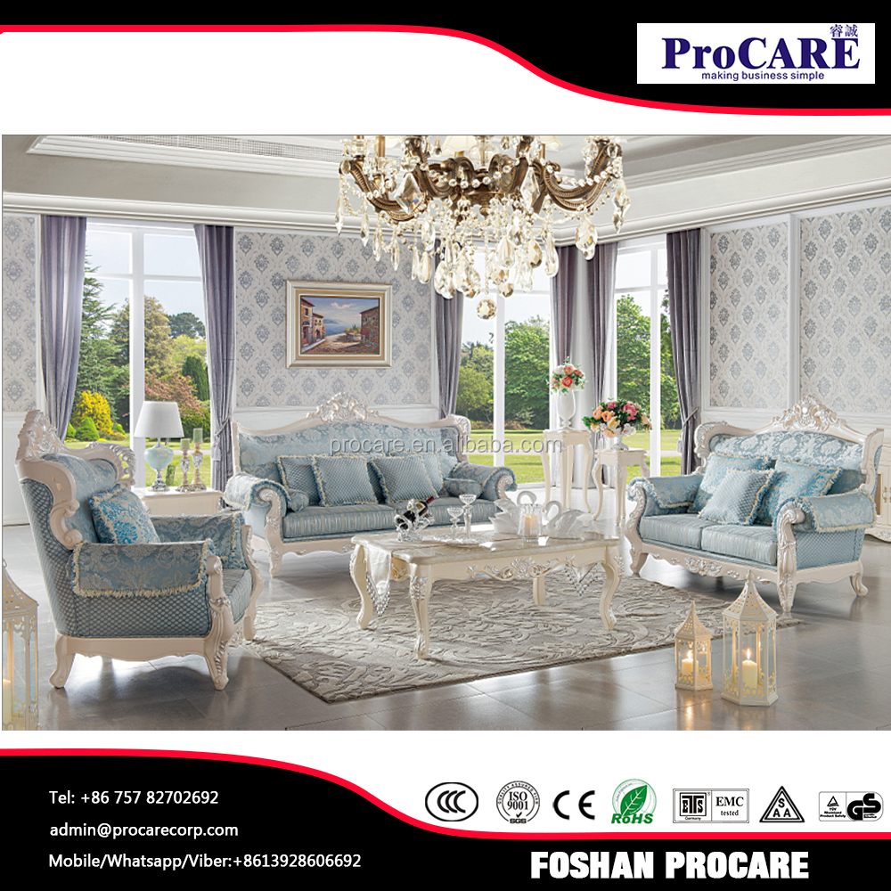 Good quality solid oak wood romatic blue arabic sofa sets