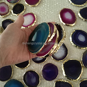 Various color trays brazilian gold border slice agate coaster
