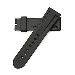 24 26mm Fits PAM watch rubber Strap Band black