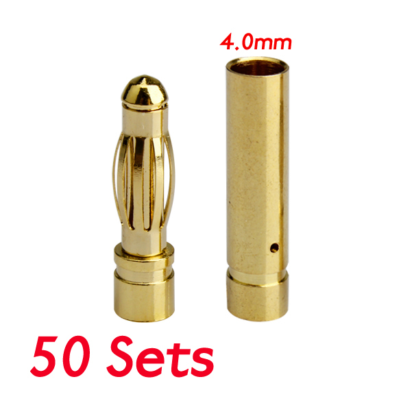 50 Sets 4.0mm 4mm RC Battery Gold-plated Bullet Connector Banana Plug FCI#