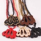 Wooden Muslim Allah Pendant Necklace With Round 128 Beads Chain Hip hop Prayer Rosary Islam Religious Jewelry Wholesale Price