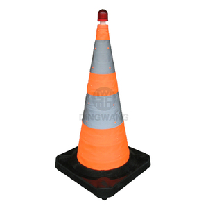 750mm High Quality Rubber Base Collapsible Led Light Foldable Traffic Cone
