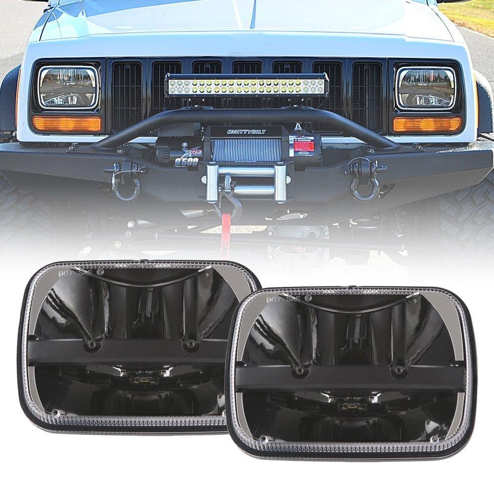 "1 Pair Rectangular 5""x7"" Led Headlight High Low Beam Headlamp For Jeep Wrangler YJ Cherokee XJ Trucks Replacement H6054 H5054 H6054LL 69822 6052 6053 (2 pcs)"