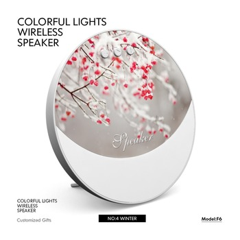 Christmas promotional gift colorful led light round shape mini portable wireless speakers with CE ROHS certificates