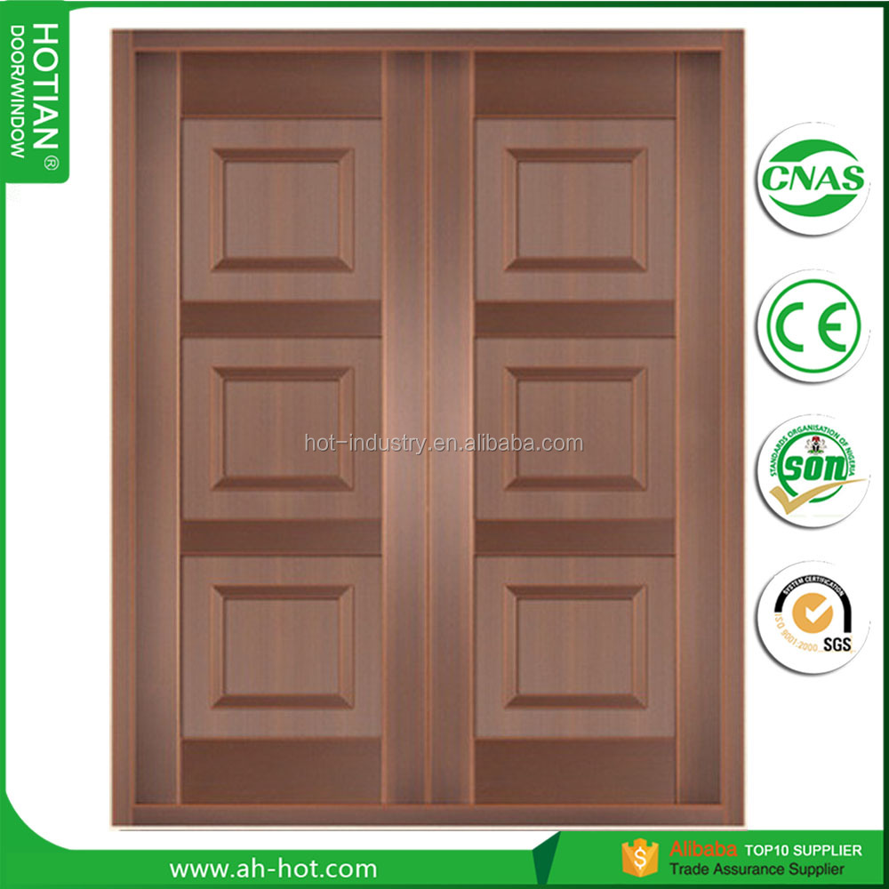 2050*1500mm Copper Right-Hand Inswing Wrought Iron Double Door Straight Top Prehung Front Copper Door