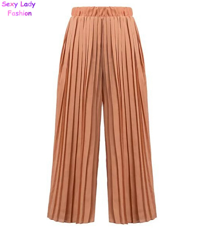 YSJERA Womens Pleated Cropped Pants Solid Color Straight-Leg Wide Leg Culottes Trousers