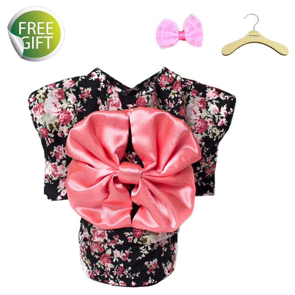 Newtensina 2017 New Pets Dress Dog Clothes Fancy Puppy Kimono Design Dress Gown for Dog - Include a Pink Hair Clips & a Hanger