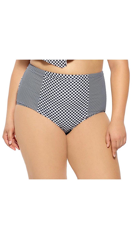 59409e5e904ab Get Quotations · Costa del Sol Plus Size High Waisted Retro Bikini Bottom, Plus  Size Checkered Bikini Bottom