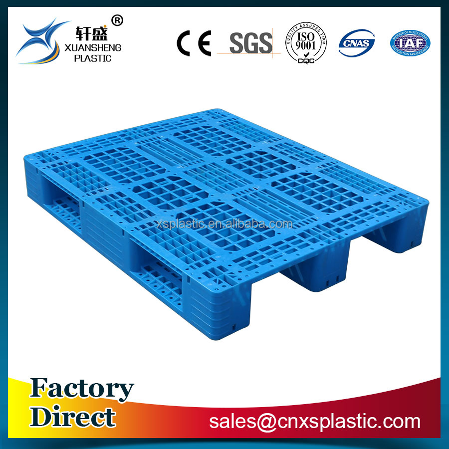 Steel tubes reinforced single faced euro plastic pallet for racking