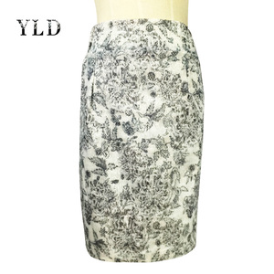 Summer New style Ladies Office Skirt Suit Ink Print Midi Skirt Floral Lace Skirt