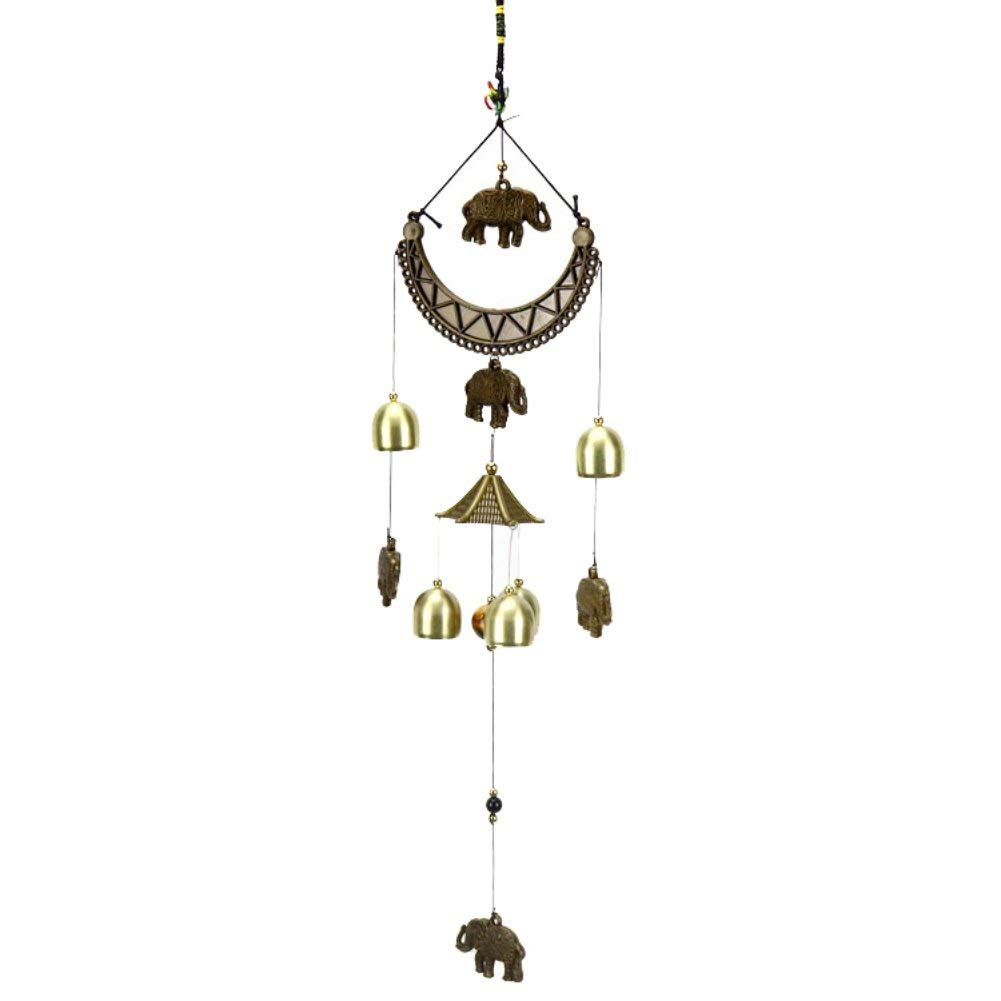 Large Lovely Windchimes,Bronze Antique Feng Shui Hanging Bronze Bells with Love Decor,Family Gifts Wind Chime for Car,Garden,Patio,Balcony Decor