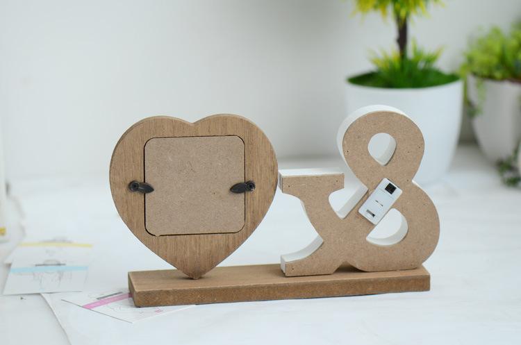 Latest Design Wooden Heart Shape Love Couple Photo Frame Of Led ...