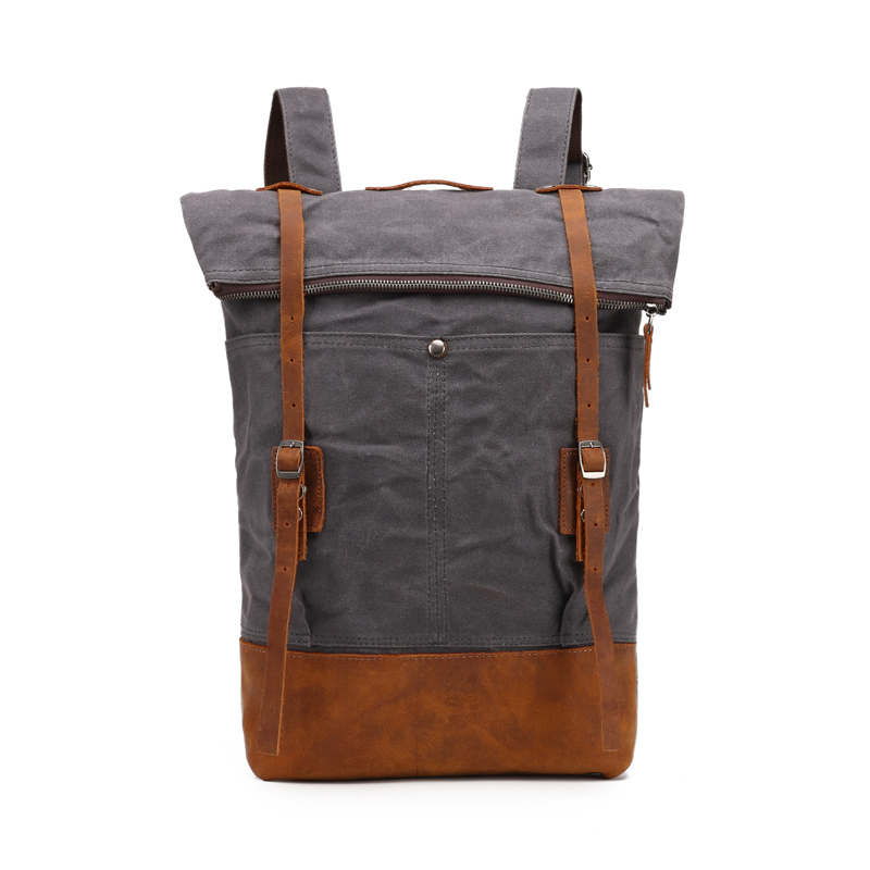 Good feedback waterproof knapsack vintage waxed canvas book bag school backpack organizer
