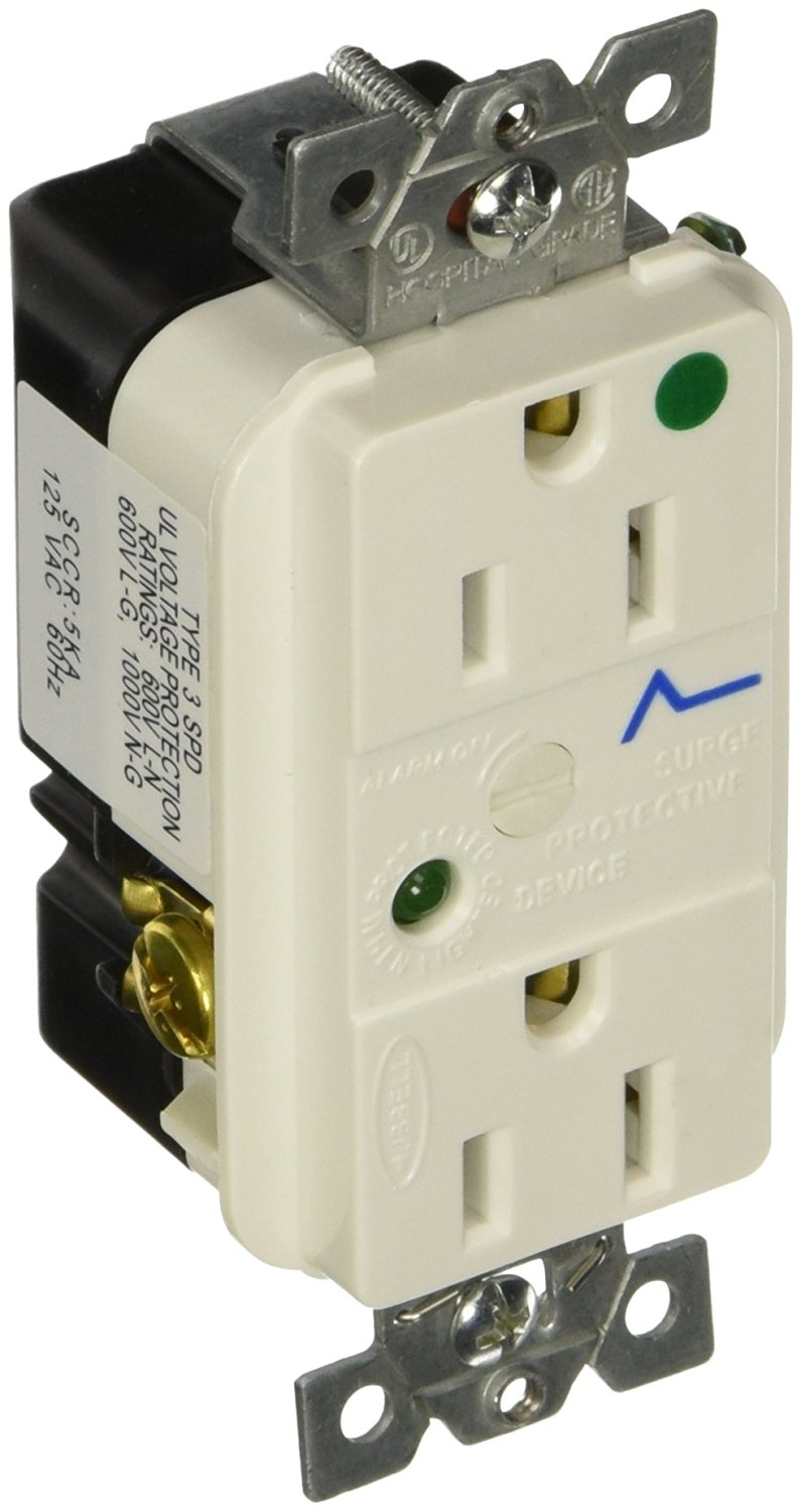Hubbell HBL8262WSA Spike Shield Circuit Guard Hospital Grade Surge  Suppression Duplex Receptacle with Light and Alarm