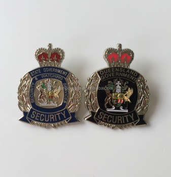 High quality customized metal cap badge, imitation enamel security pin badge