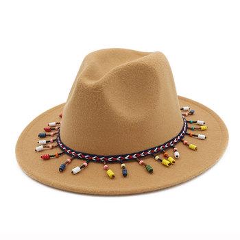 30cfae1801cc5 Customized wholesale latest winter women girls red wool felt wide brim  tassels fedora hat for men