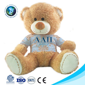 Customized brand LOGO stuffed plush sublimation teddy bear t shirt promotional wholesale cute soft plush toy teddy bear clothing