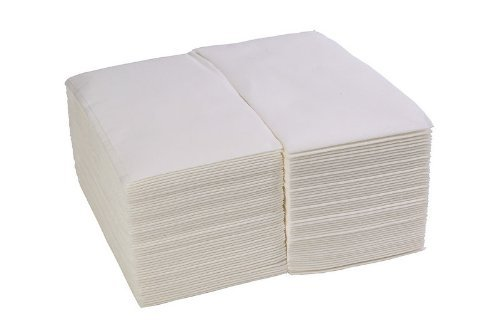 "ChefLand (100 Pack) Linen-Feel Guest Towels / Disposable Cloth-Like Tissue Paper Hand Napkins, 12"" X 17"" White Towel"