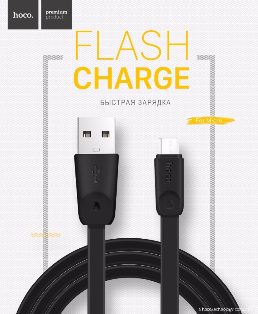 Original HOCO X9 TPE Noodle Charging Cable For Micro High Speed Flat Cable