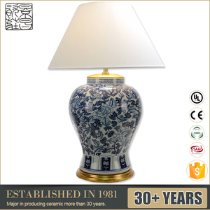 Best Price Chinese porcelain lamps blue and white flower shape table lamp for sale